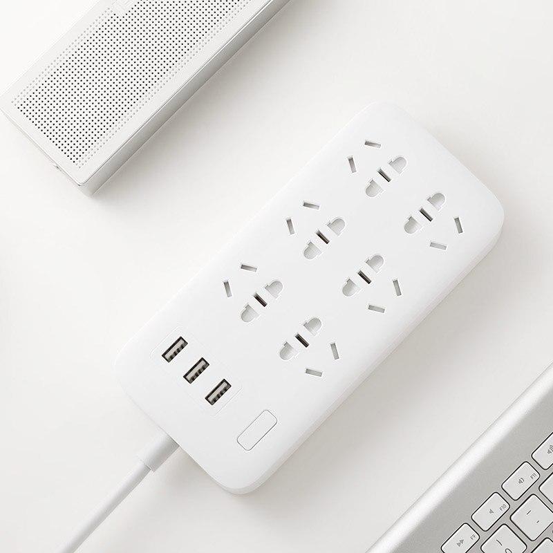 Original Xiaomi Smart Power Strip 2.1A Fast Charging 3 USB Extension Socket Plug 6 Standard Socket Adapter US UK EU AU