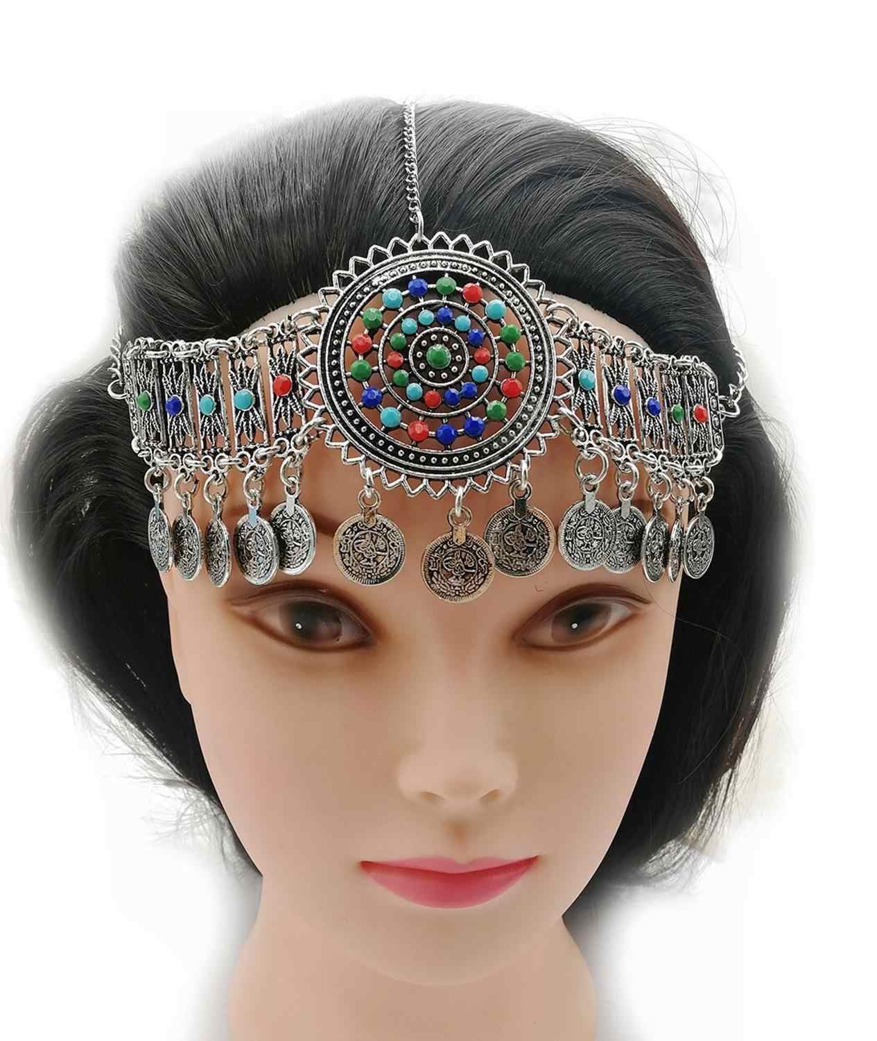 Women Tribal India Belly Dance Head Chains & Bracelets Gypsy Jewelry Golden Coin Clips Hair Decoration Festival Jewelry Sets