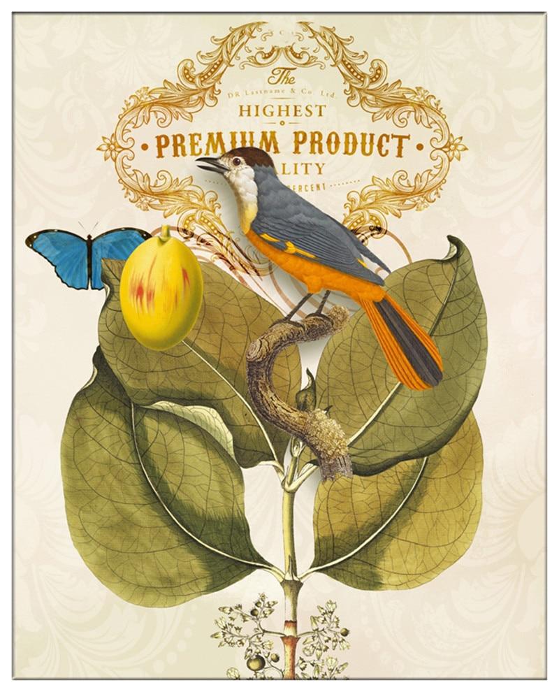 Retro Flowers & Birds Parrot Paintings HD Print Modern Minimalist ...