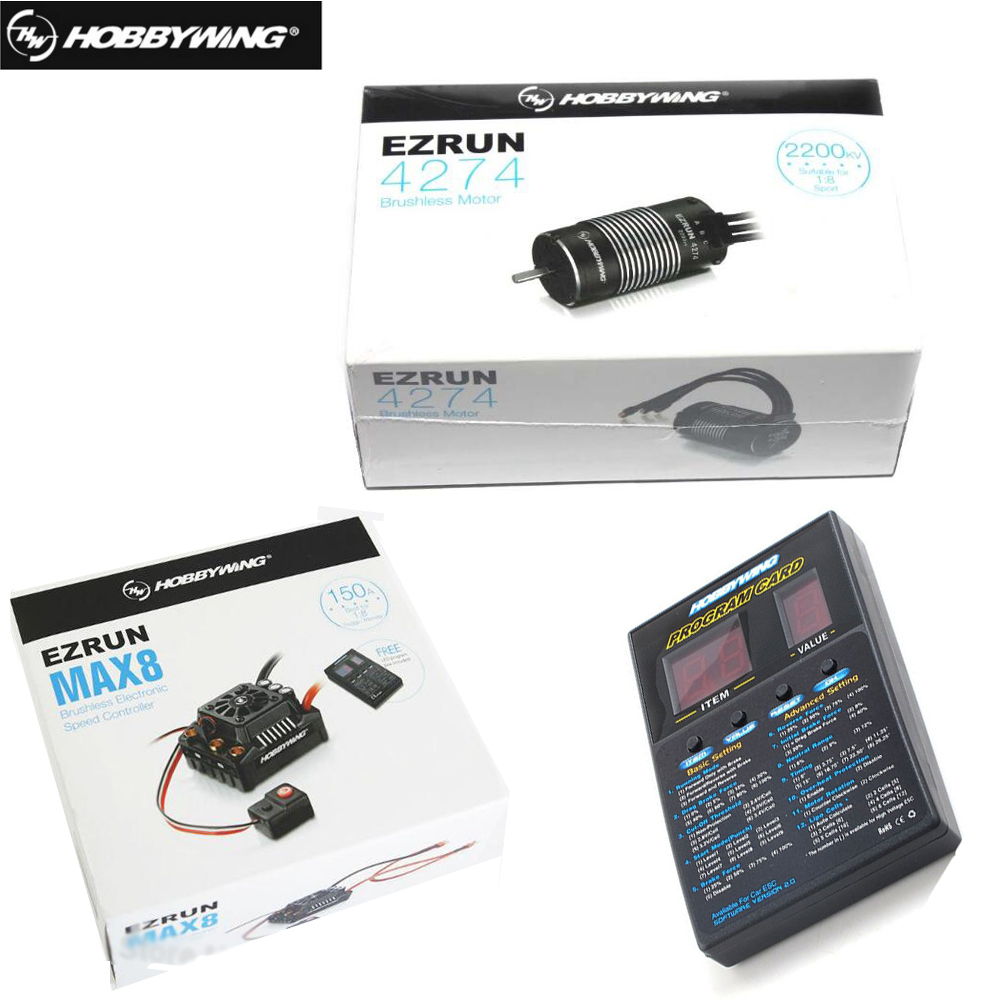 Hobbywing EzRun Max8 v3 Wasserdicht Bürstenlosen ESC T/TRX Stecker + 4274 2200KV Motor + LED Programmierung karte für 1/8 RC Auto Lkw-in Teile & Zubehör aus Spielzeug und Hobbys bei  Gruppe 1