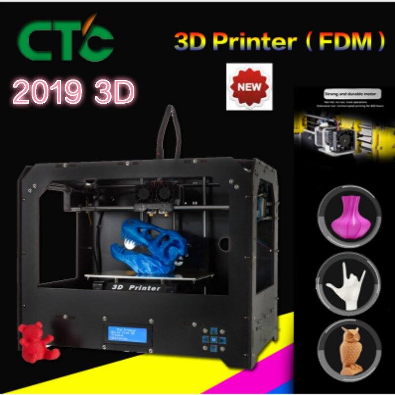 2019 Nouveau CTC 3D imprimante, extrudeuse double + double buse Double couleur 3d imprimante/envoyer Abs ou cuillères Pla livraison