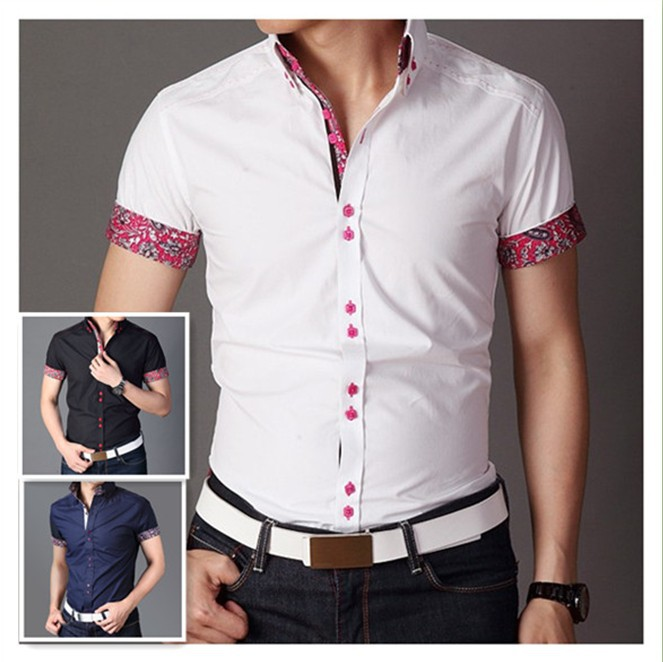 Free shipping italian designer button down slim fit short Designer clothing for men online sales