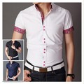 Free shipping Italian designer button down Slim fit short Sleeve Prints shirt for men Hombres de camisa QR-1360