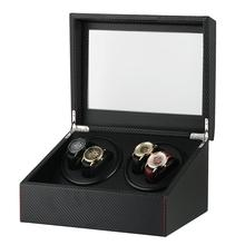 Luxury Fashion Watch Winder Box Automatic for Four Mechanical Watches Black Mixed Materials clock winder remontoir montre
