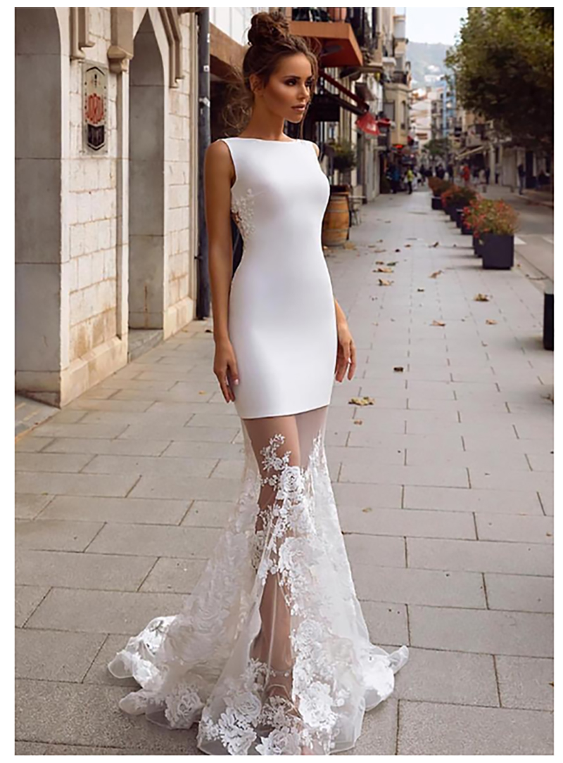 LORIE Beach Mermaid Wedding Dress Boho 2019 Vestido De Novia Sexy Bridal Dress Illusion Back Wedding Dresses Floor Length