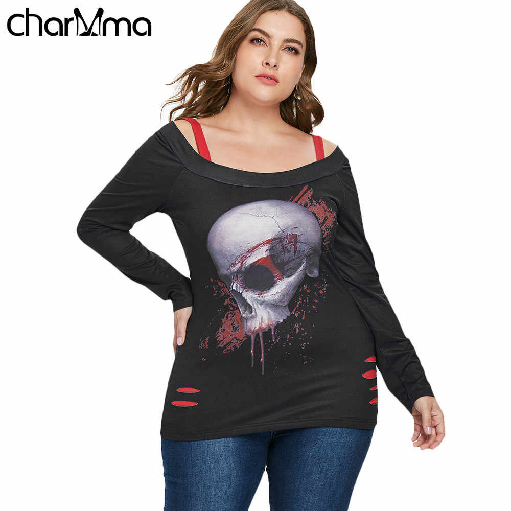 fee9810f5 T shirt Halloween Plus Size 5XL Ripped Skull Pattern T-Shirt Square Neck  Long Sleeve