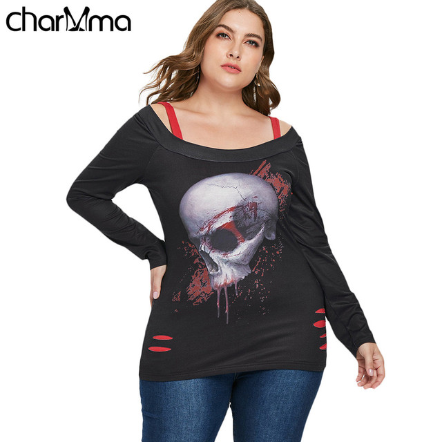 T shirt Halloween Plus Size 5XL Ripped Skull Pattern T-Shirt Square Neck  Long Sleeve Cold Shoulder Tee Top Casual Autumn Tee Top 03c83f9cfb49