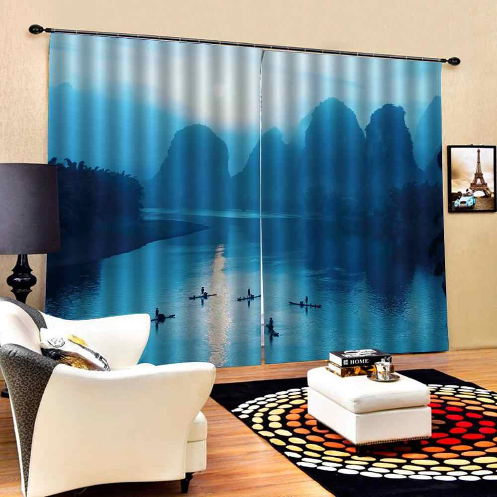 landscape scenery  Luxury Blackout 3D Window Curtains For Living Room blue curtains for bedroom Blackout curtain