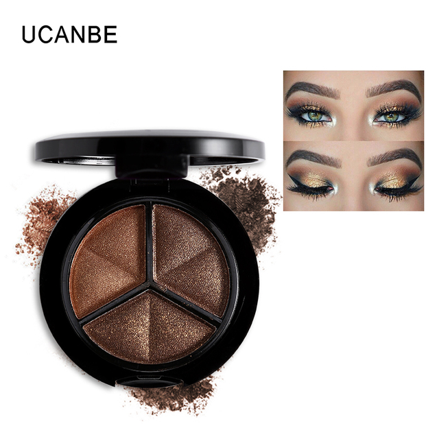 UCANBE Makeup Shimmer Eyeshadow Palette 3 Colors Smoky Cosmetics Set Professional Natural Matte Eye Shadow Sleek Palette Glitter 2