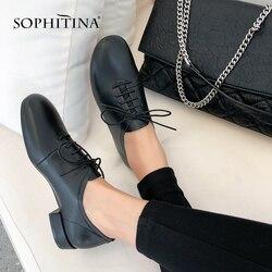 SOPHITINA/Удобные женские туфли из мягкой натуральной кожи с круглым мыском на низком и квадратном каблуке.Повседневная обувь со шнуровкой и де...