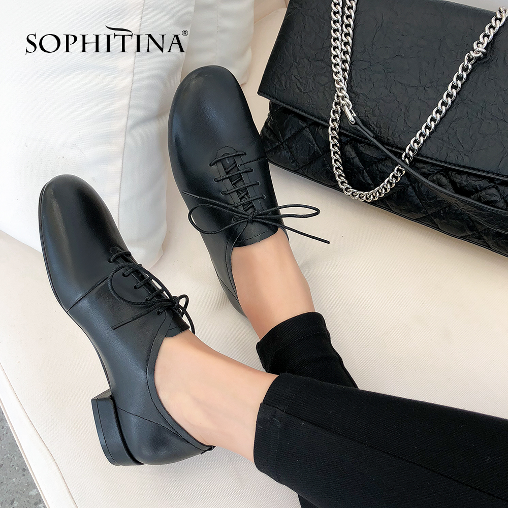SOPHITINA Comfortable Square Heel Pumps High Quality Cow Leather Round Toe Lace-Up Casual Shoes Cross-tied Leisure Pumps SO153