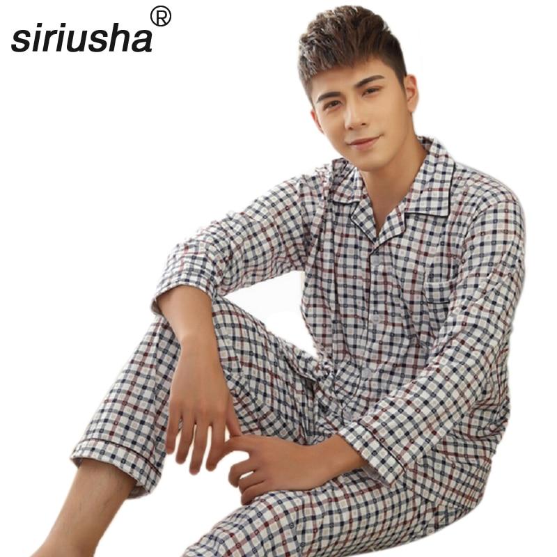 Cotton Pyjamas Men's Seasons Pajamas Soft Fabrics Clothing Men's Pajamas Suit a Variety of Plaid Sleeved Pajamas Set Lounge S21