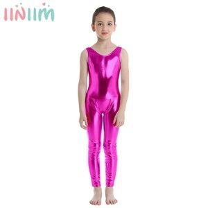 Kids Girls Sleeveless Shiny Costume Ballet Dance Gymnastics Leotard Unitard Dancewear Tutu Professional Ballet Tutu Ballerina(China)