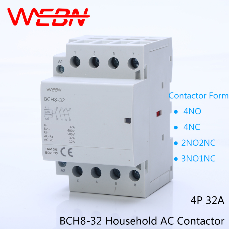 BCH8 32 Series 4P 32A Auto Operation AC Household Contactor 230V ...