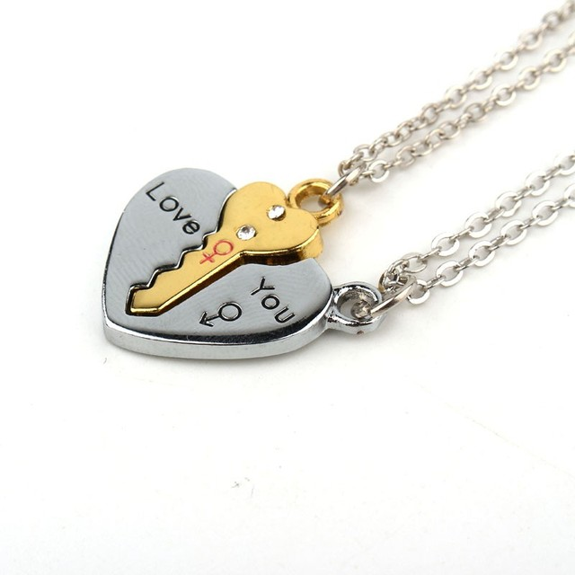 2Pcs European Sliver Plated Key Pendant Necklaces For Womens Lover Couple Jewelr