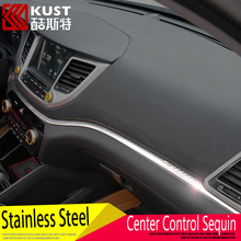 KUST Stainless Steel Center Control Panel Sequin Sticker For Hyundai For Tucson 2015 Control Panel Trim Cover For Tucson 2016