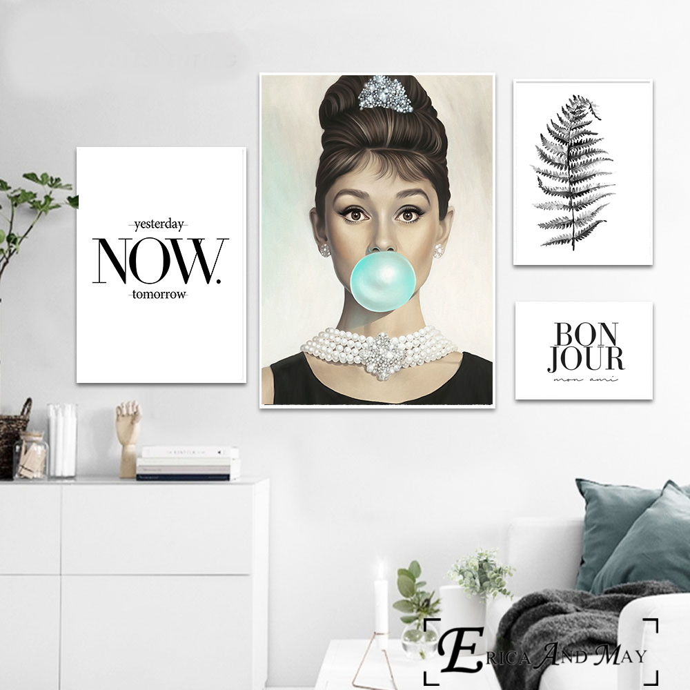 Hot Sale Audrey Hepburn Bubble Gum Quote Canvas Painting Posters And ...