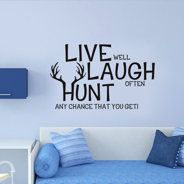 live laugh hunt herten quotes muursticker slaapkamer woonkamer familie warme motivational quotes muurtattoo dier gezegden decals