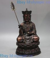 12 China bronze sculpture fine red copper carved buddhism Ksitigarbha Statue