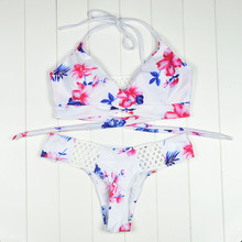 2017 Sexy Bikini Women Swimsuit Swimwear Cut Out Retro Push Up Bikini Set Printed Summer Beach Bathing Suit