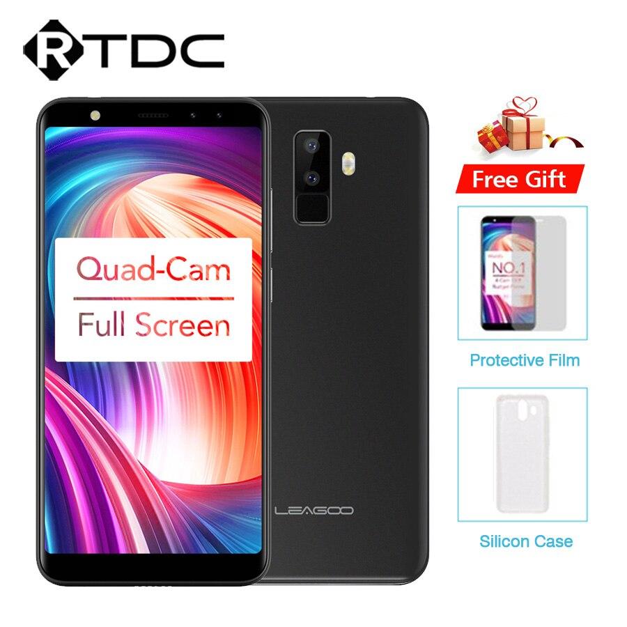 """Leagoo M9 5.5 """"18:9 полный Экран четыре-камеры Android 7.0 MT6580A 4 ядра 2 ГБ Оперативная память 16 ГБ Встроенная память 8.0MP отпечатков пальцев 3G wcdma мобильного телефона"""