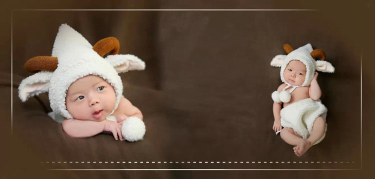 Image 2 - Fashion White Baby Girl Boy Photo Costumes Clothes Newborn Pictures Clothing Animal Sheep Goat Set Outfits    -