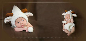 Image 2 - Fashion White Baby Girl Boy Photo Costumes Clothes Newborn Pictures Clothing Animal Sheep Goat Set Outfits