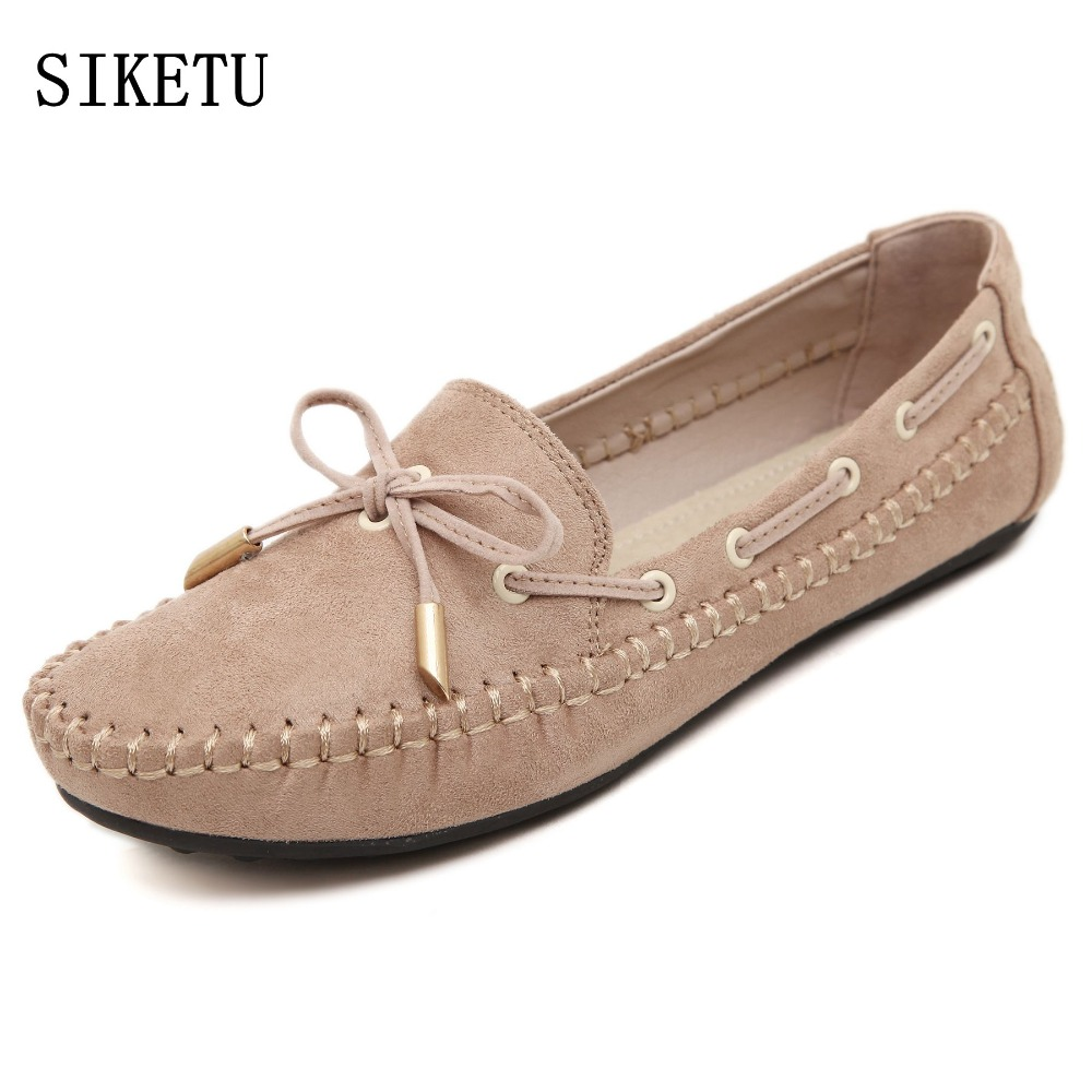 SIKETU spring autumn new Woman shoes Soft bottom casual Loafers ladies Flat Shoes large size Lady Driving Shoes women flat shoes 2017 new spring female flat heels martin shoes bullock shoes female thick bottom loafers large size women shoes obuv ayakkab