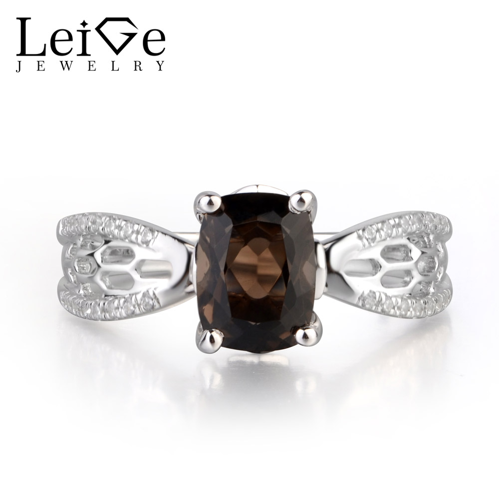 купить Leige Jewelry Natural Brown Color Smoky Quartz Gemstone Cushion Cut Prong Setting Anniversary Hollow Silver Rings Classic Gifts по цене 6527.76 рублей