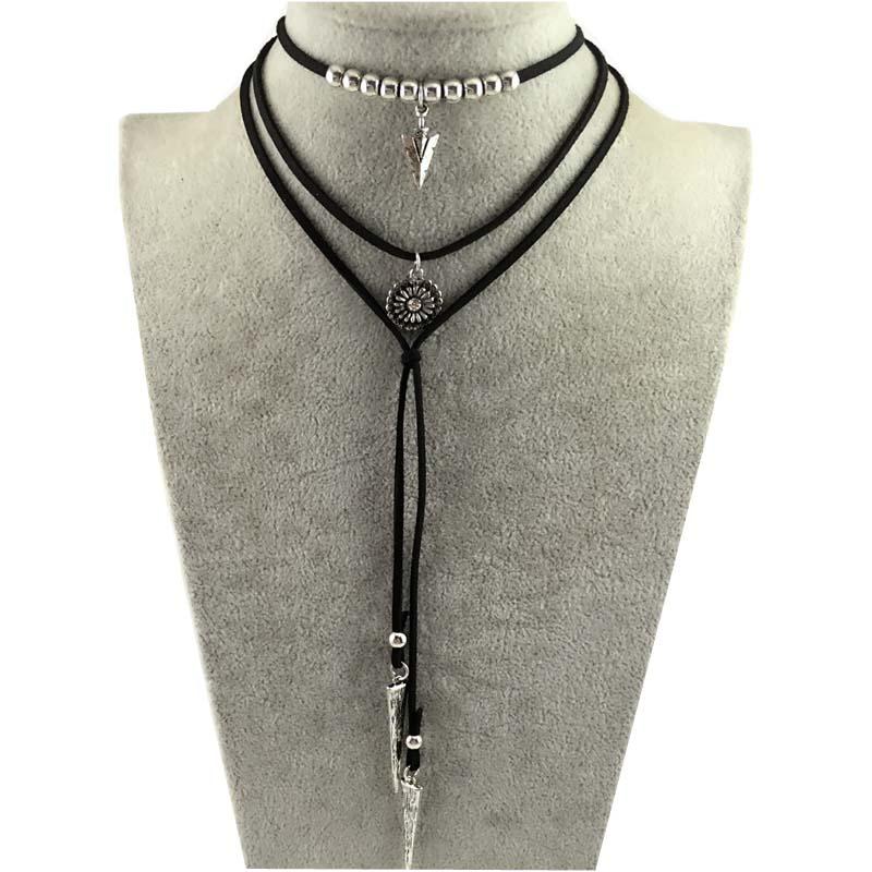 DANZE Boho Multilayer Imitation Läder Choker Halsband För Kvinnor - Märkessmycken - Foto 4