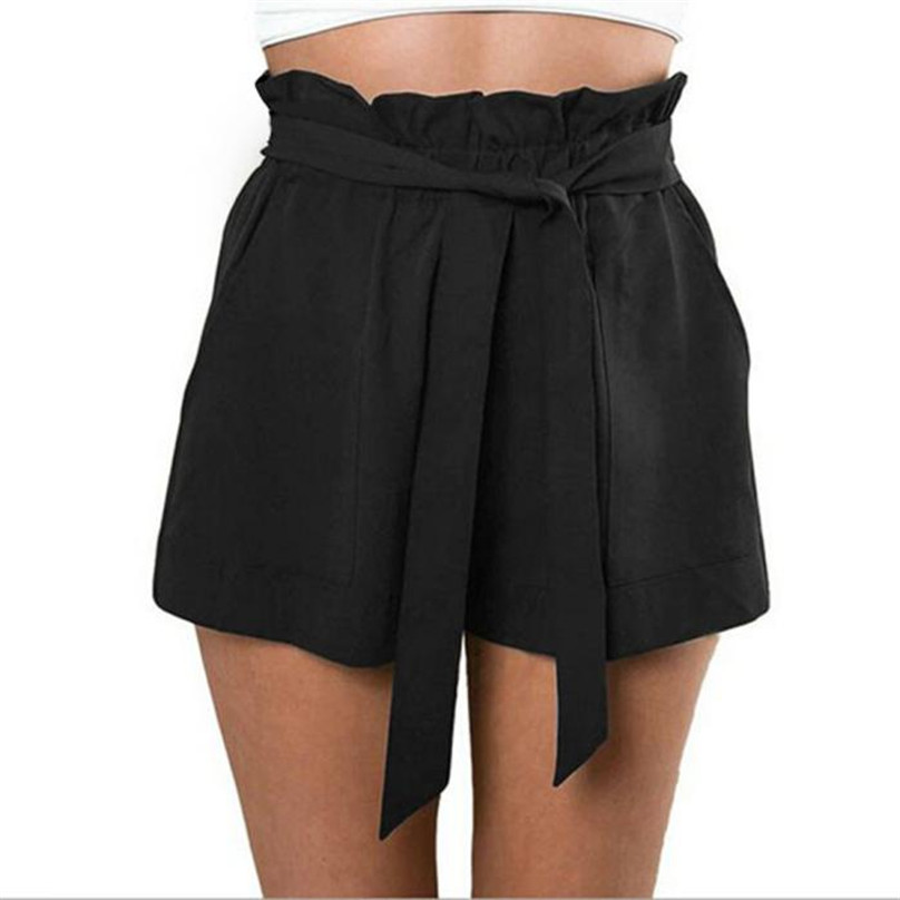 High Elastic Waist Size   Shorts   Women Casual Design High Waist Loose Fashionable   Shorts   Female With Belt 1Shorts+1Belt #ZY5850