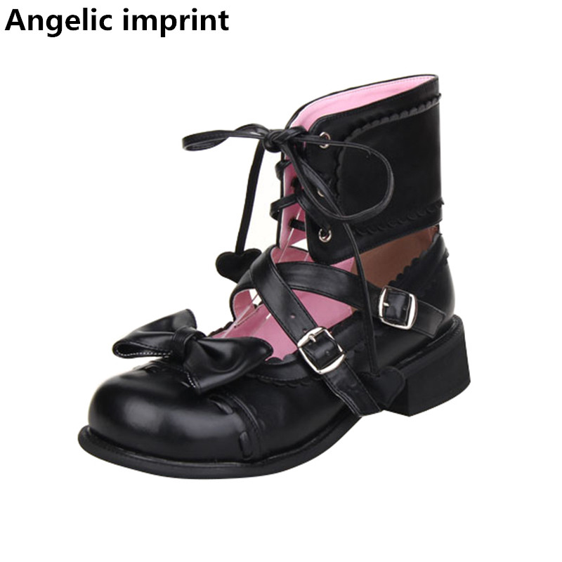 Cm Partido Bajo Zapatos Princesa Negro Up Mujer 2 Angelical Impresión Mori Mujeres Tacón Estudiante Chica Lolita Señora Bombas 5 Las Cosplay Vestido Lace qwa1zf