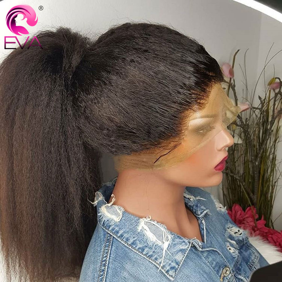Eva Kinky Straight Full Lace Human Hair Wigs Pre Plucked With Baby Hair Glueless Full Lace