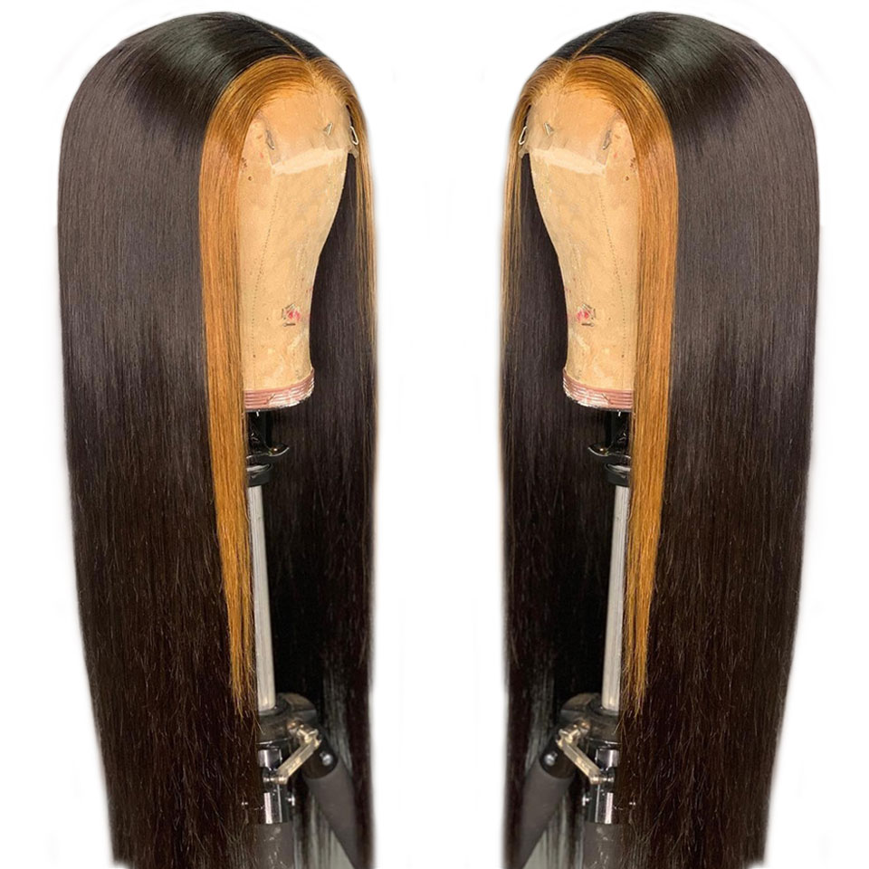 Customized 1B 30 Brazilian Ombre Glueless Lace Front Human Hair Wigs For Black Women Pre Plucked