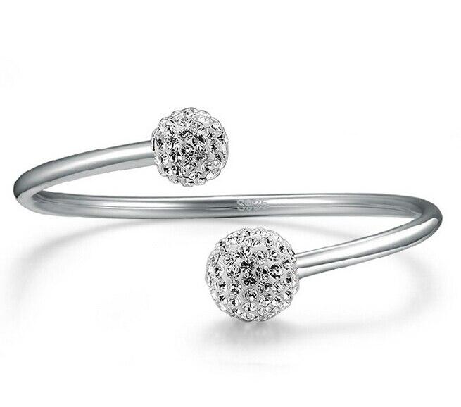 Anenjery 925 prata esterlina cristal bola pulseiras aberto manguito pulseiras & pulseiras jóias pulseras para mulher S-B19
