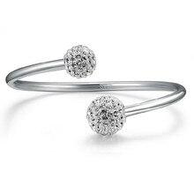 ANENJERY – Bracelets en argent Sterling 925 pour femmes, bijoux à manchette ouverte, boule de cristal