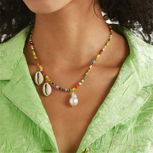 Boho Colorful Acrylic Bead Chain Necklace Natural Shell Baroque Pearl Pendant Party Statement Jewelry Gift for Women