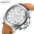 KIMSDUN Мужские кварцевые часы с кожаным ремешком и хронографом модные трендовые военные светящиеся часы роскошные часы для отдыха Relogio Masculino