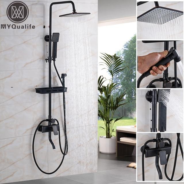 """黒壁マウント 8 """"レインシャワーの蛇口ミキサーで設定商品棚/スイベル浴槽スパウト/ハンドシャワー/ビデスプレー"""