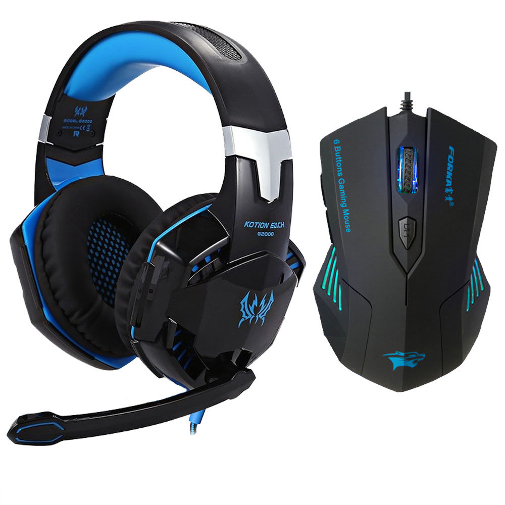 Ny Gaming Hovedtelefon Stereo Over-Ear Game Headset Hovedtelefon Hovedtelefon med Mic LED Lys til PC Gamer + 6 Button Pro Gaming Mouse