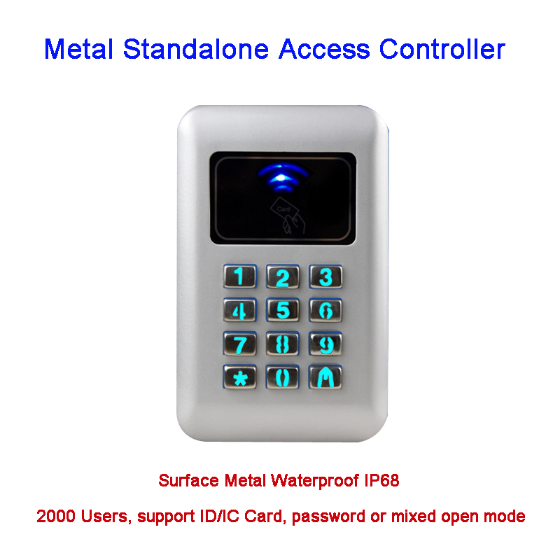 Waterproof IP68 Metal Case RFID 125KHz Keypad Stand-alone Access Control with 2000 Users for Outdoor and Indoor Wiegand 26 Bit metal rfid em card reader ip68 waterproof metal standalone door lock access control system with keypad 2000 card users capacity