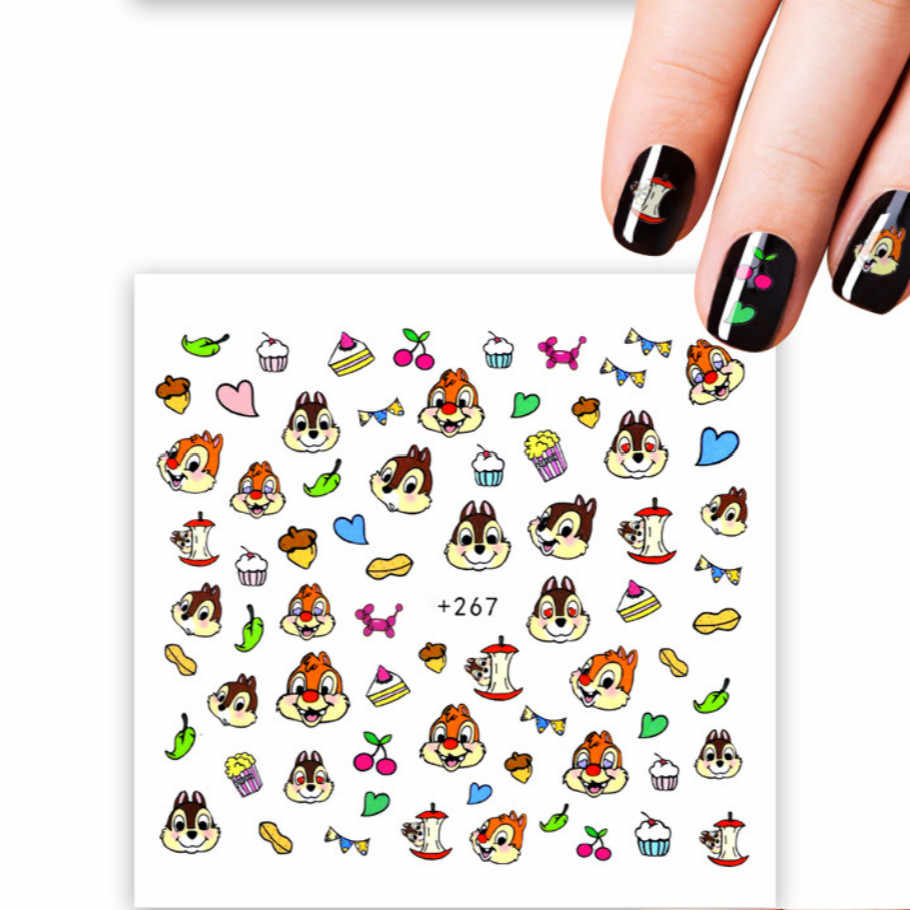 1pcs Nail Sticker Cartoon Squirrel Water Transfer Decal Sliders for Nail Art Decoration Tattoo Manicure Wraps Tools Tip JSX267