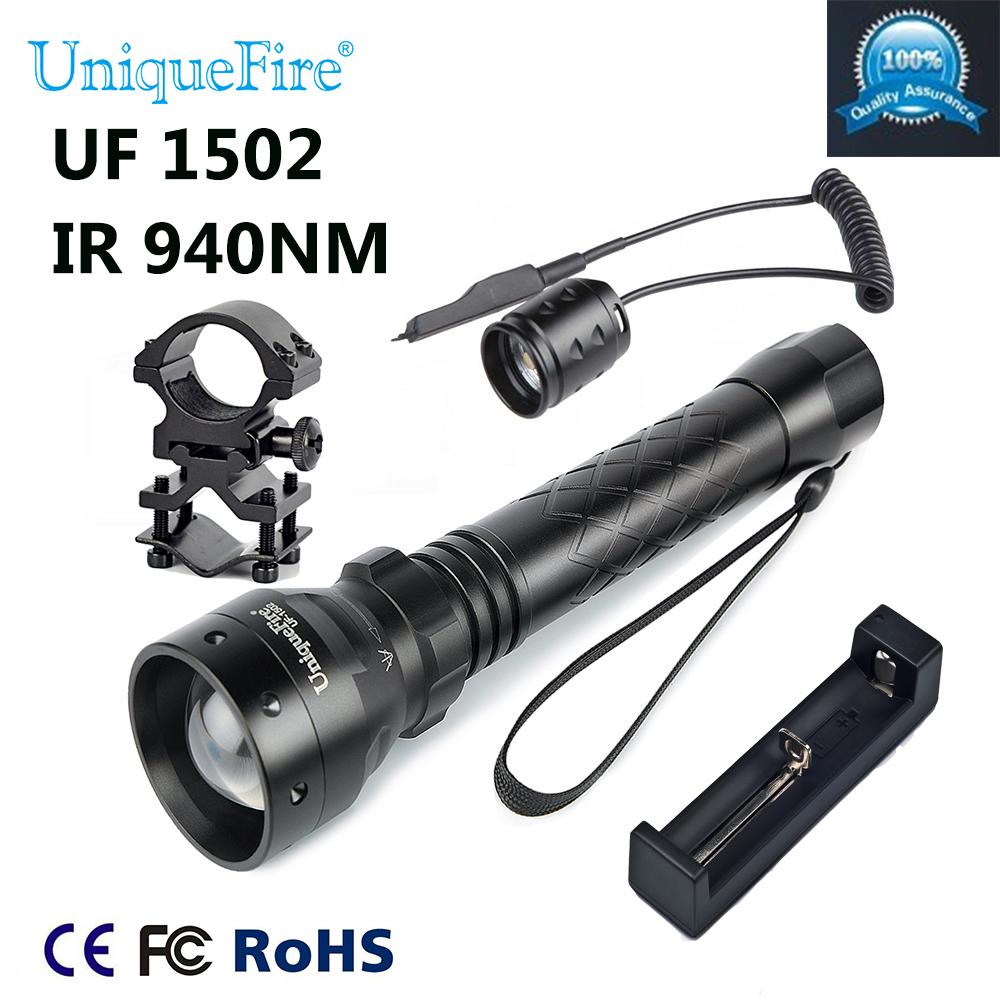 UniqueFire 1502 IR 940NM LED Adjustable Zoomable IR Flashlight Torch Light + Tactical Remote + Charge +Scope Mount For Hunting waterproof flashlight uniquefire infrared night vision 1503 ir 940nm zoomable led flashlight charger tactical remote scope mount