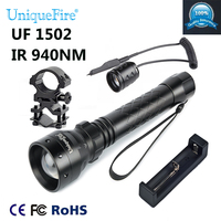 UniqueFire 1502 IR 940NM LED Adjustable Zoomable IR Flashlight Torch Light + Tactical Remote + Charge +Scope Mount For Hunting