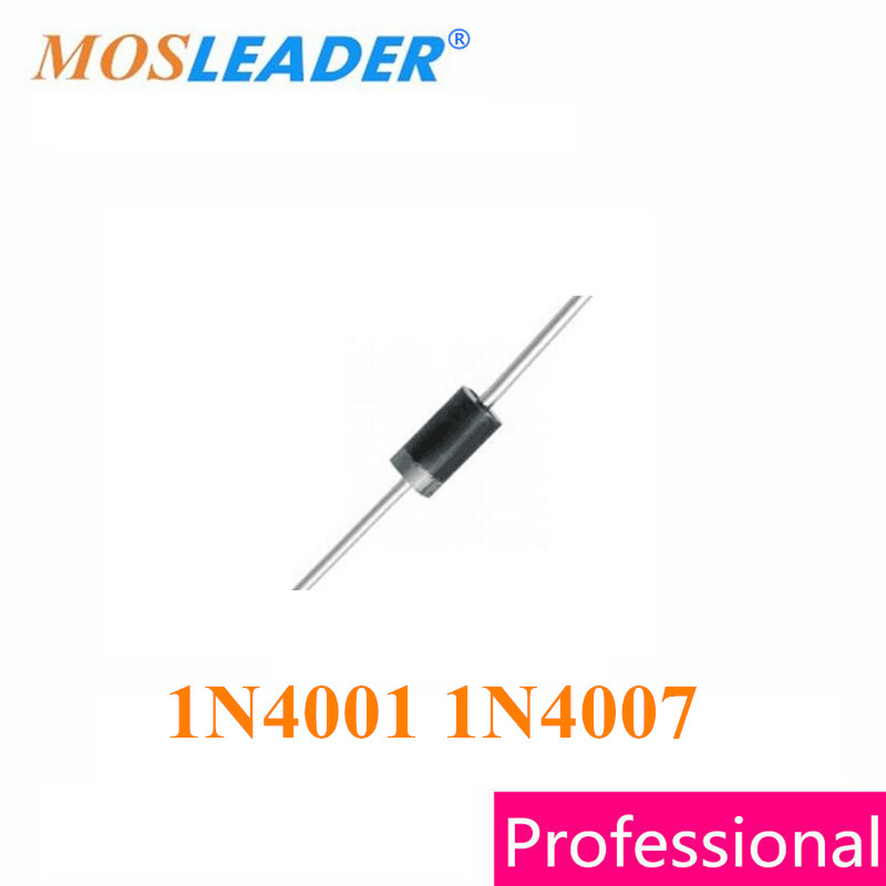 Mosleader 1N4001 <font><b>1N4007</b></font> DO41 <font><b>1000PCS</b></font> 45MM DIP 1A 50V 1A 1000V Without tape High quality image