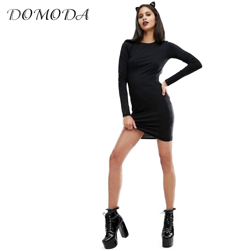 DOMODA Hollow Out Mini Dress Women Black Knitted Hollow Solid Crew Neck Long Sleeve Slim Dress Ladies Sexy Vestidos Female sexy jewel neck various hollow out solid color mini dress for women