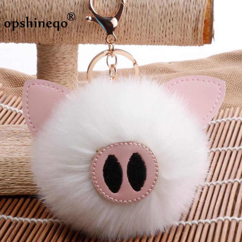 Fasnion pompom keychain Cute fur Key Chain faux Fur Keychains Fluffy Pom  Pom Keyring Bag Car c5cef71f87