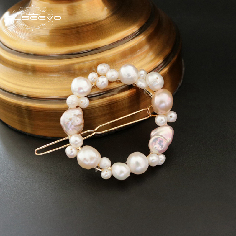 GLSEEVO Hair-Clip Wedding-Jewelry Round Pearl Cheveux Pince Fresh Handmade GH0005 Natural