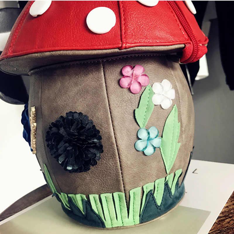 iPinee New Arrive Women Luxury Flower Designer Handbags Cute Mushroom Hand Bags PU Leather Small Bags For Women