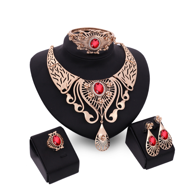 African Beads Jewelry Set 2016 Nigerian Wedding Accessories Dubai Gold Jewellery Statement Necklace Earrings for Women Ring 4pcs